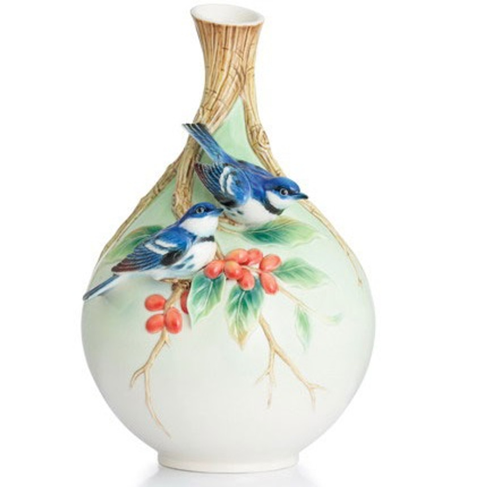 Cerulean Warblers/Coffee Tree Vase | FZ02877 | Franz Porcelain Collection -2