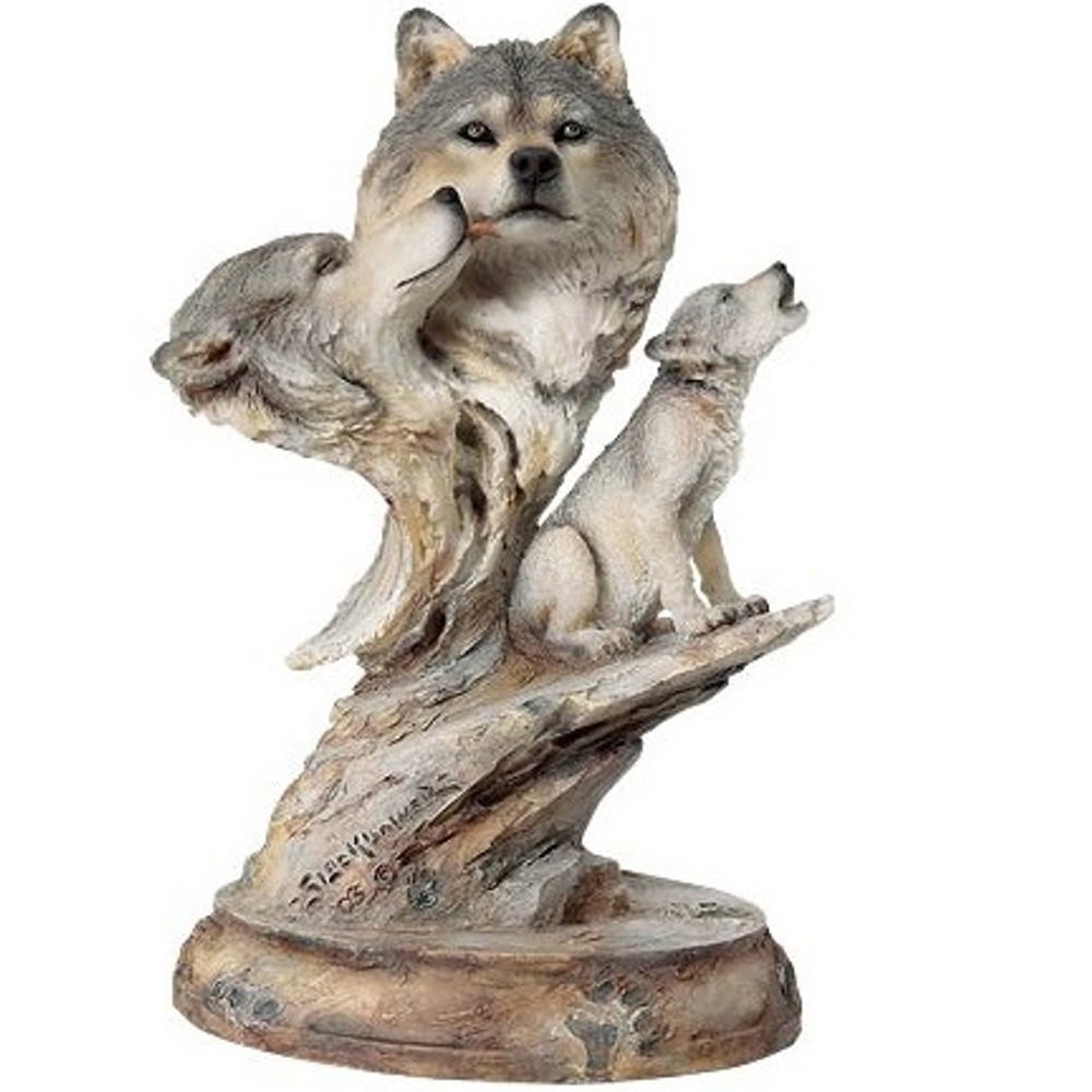 """Wolf Sculpture """"Family Song"""" 