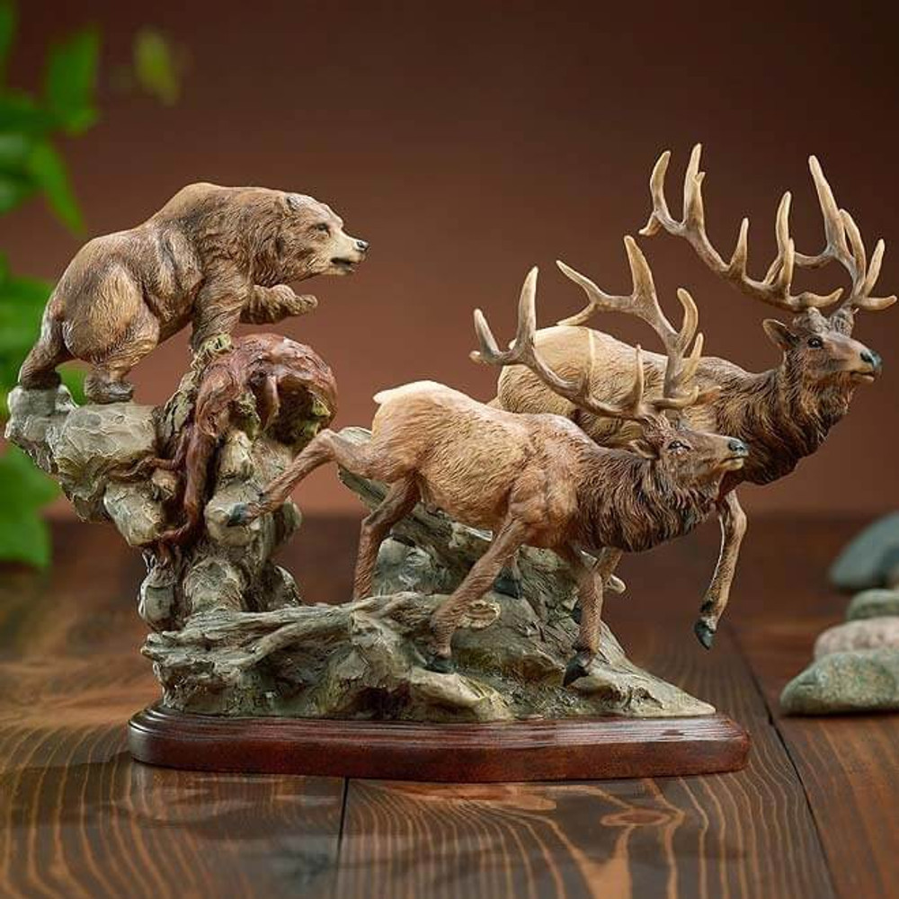 "Elk And Bear Sculpture ""Encounter"" 