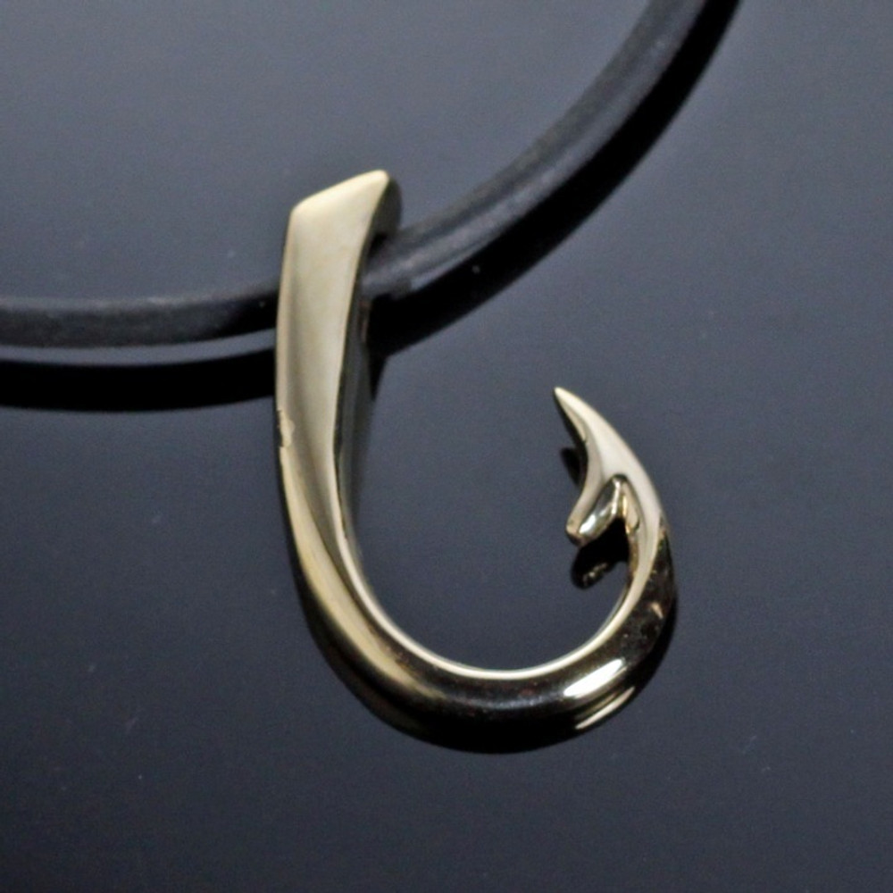 Hook Bronze Large Pendant Necklace | Anisa Stewart Jewelry | ASJbrp1017