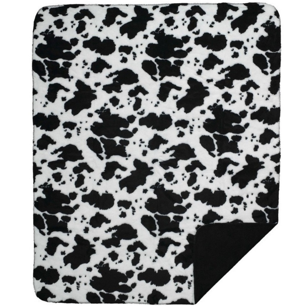 Cowhide Microplush Throw Blanket | Denali | DHCCOW-blk