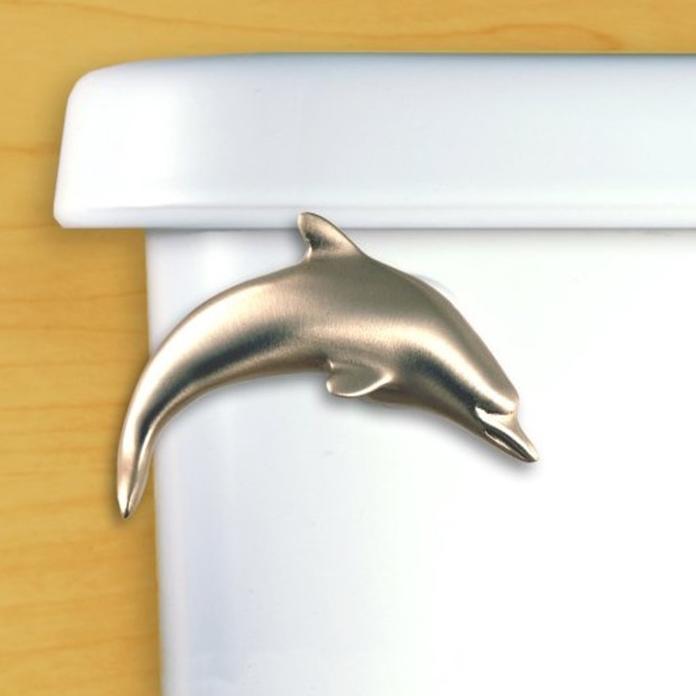 Dolphin Toilet Flush Handle | Functional Fine Art | ffa00101satinpewter