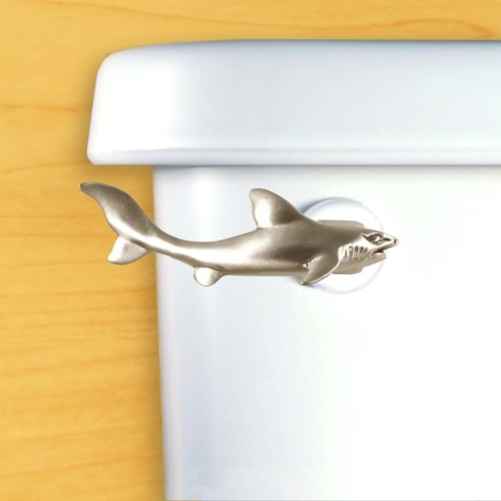 Shark Toilet Flush Handle   Functional Fine Art   ffa00111satinpewter