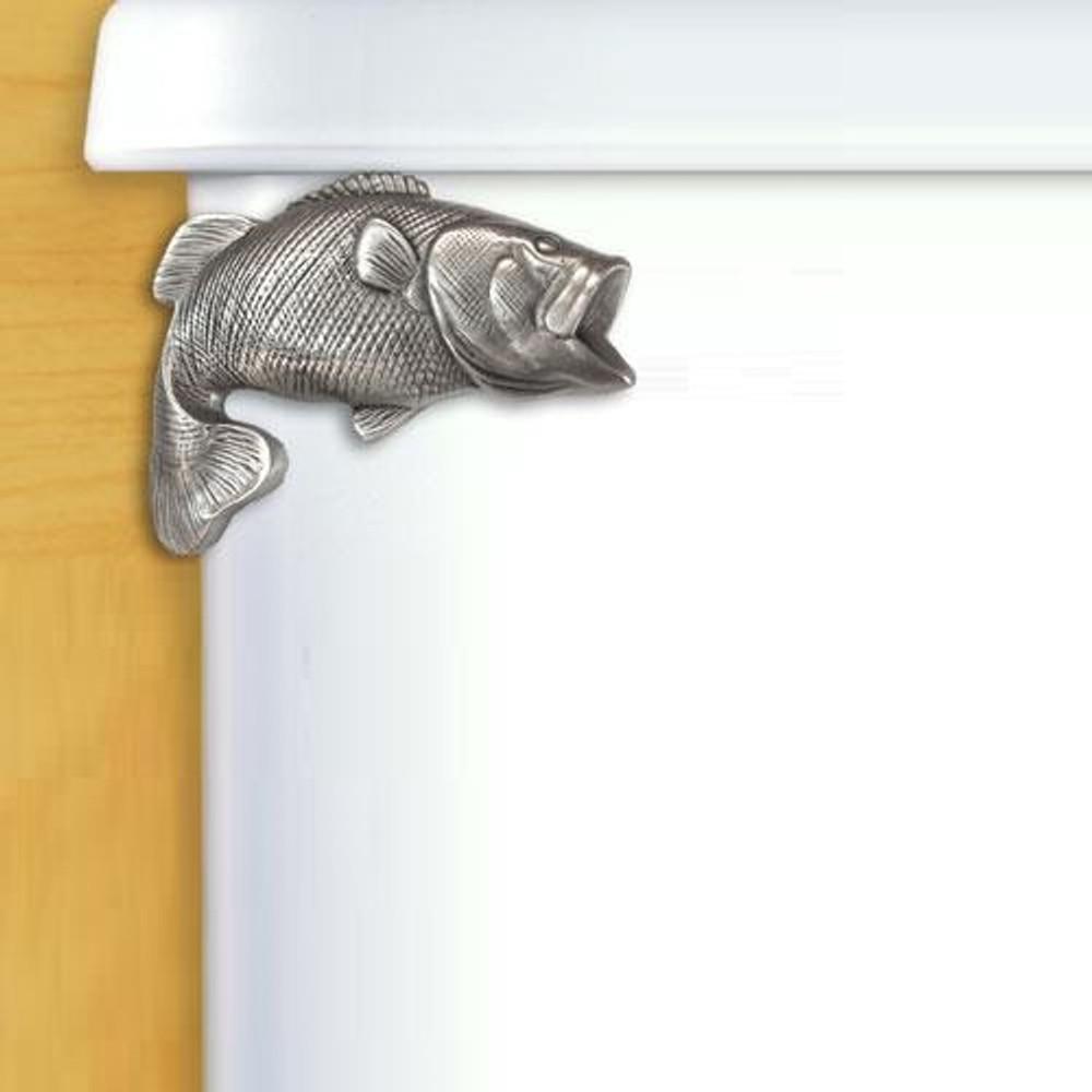 Largemouth Bass Pewter Toilet Flush Handle | Functional Fine Art | ffa00115satinpewter
