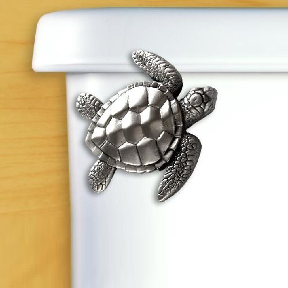 Sea Turtle Pewter Toilet Flush Handle | Functional Fine Art | FFA00116satinpewter