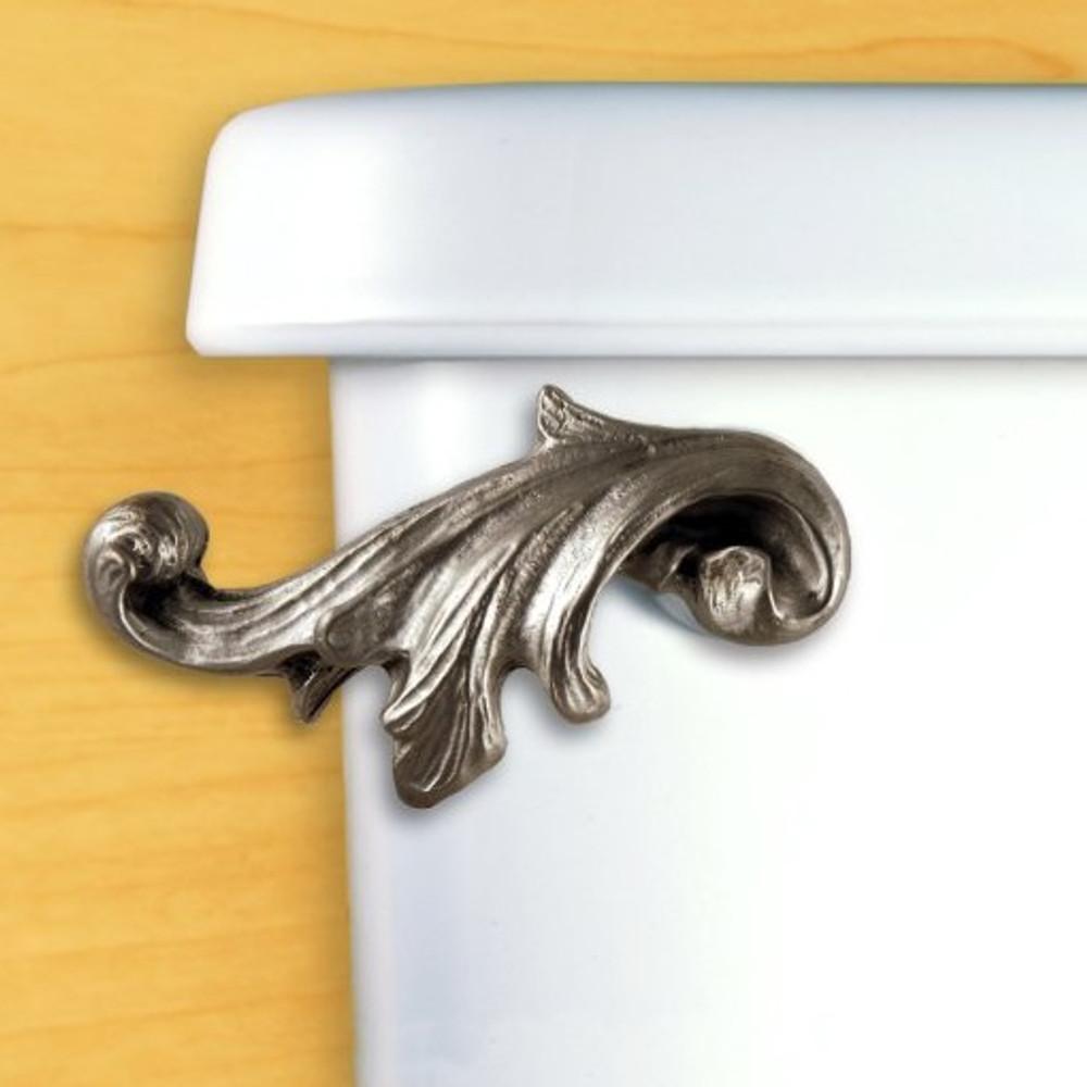 Acanthus Leaf Toilet Flush Handle   Functional Fine Art   ffa00151satinpewter