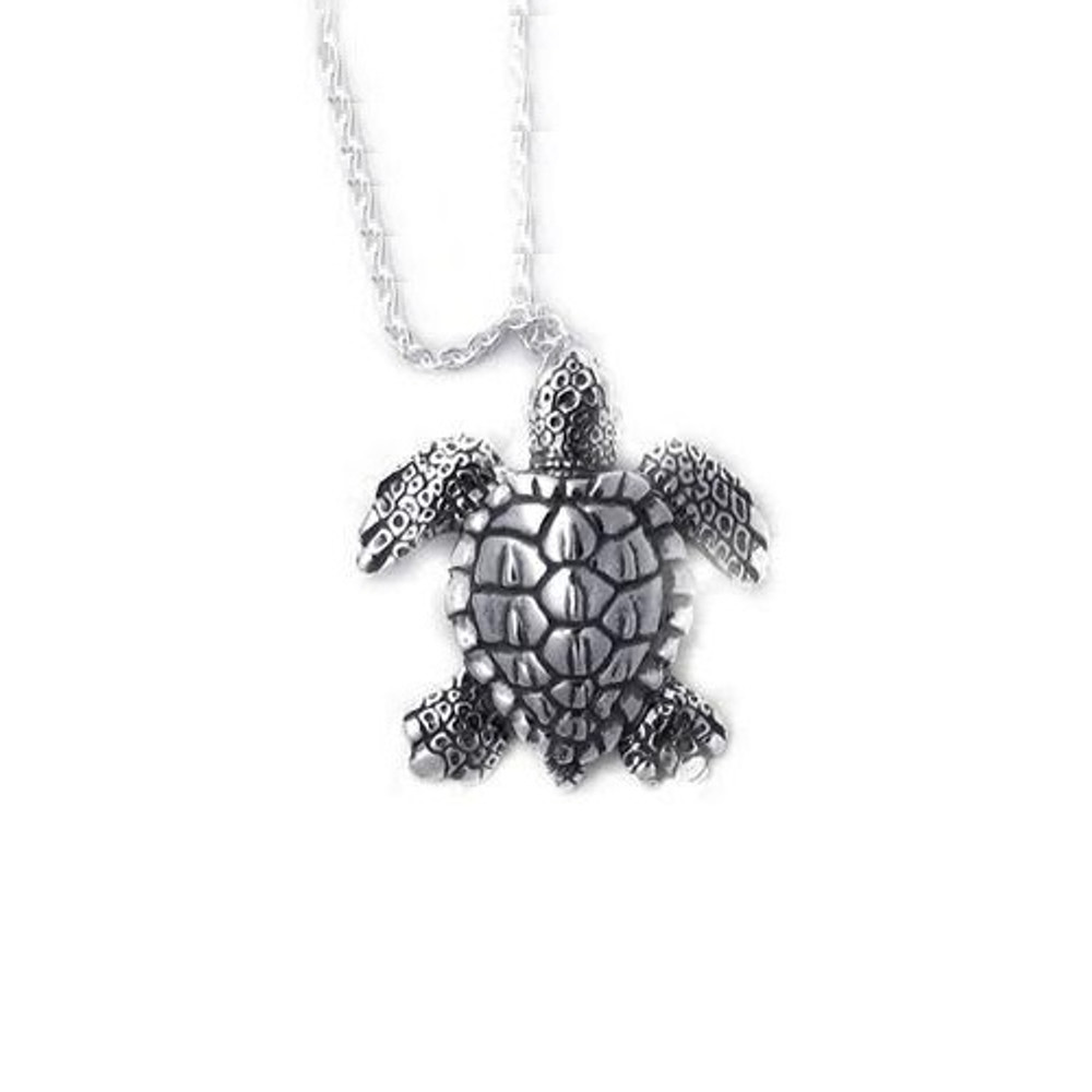 Sea Turtle Pendant Sterling Silver Necklace | Kabana Jewelry | Kp156
