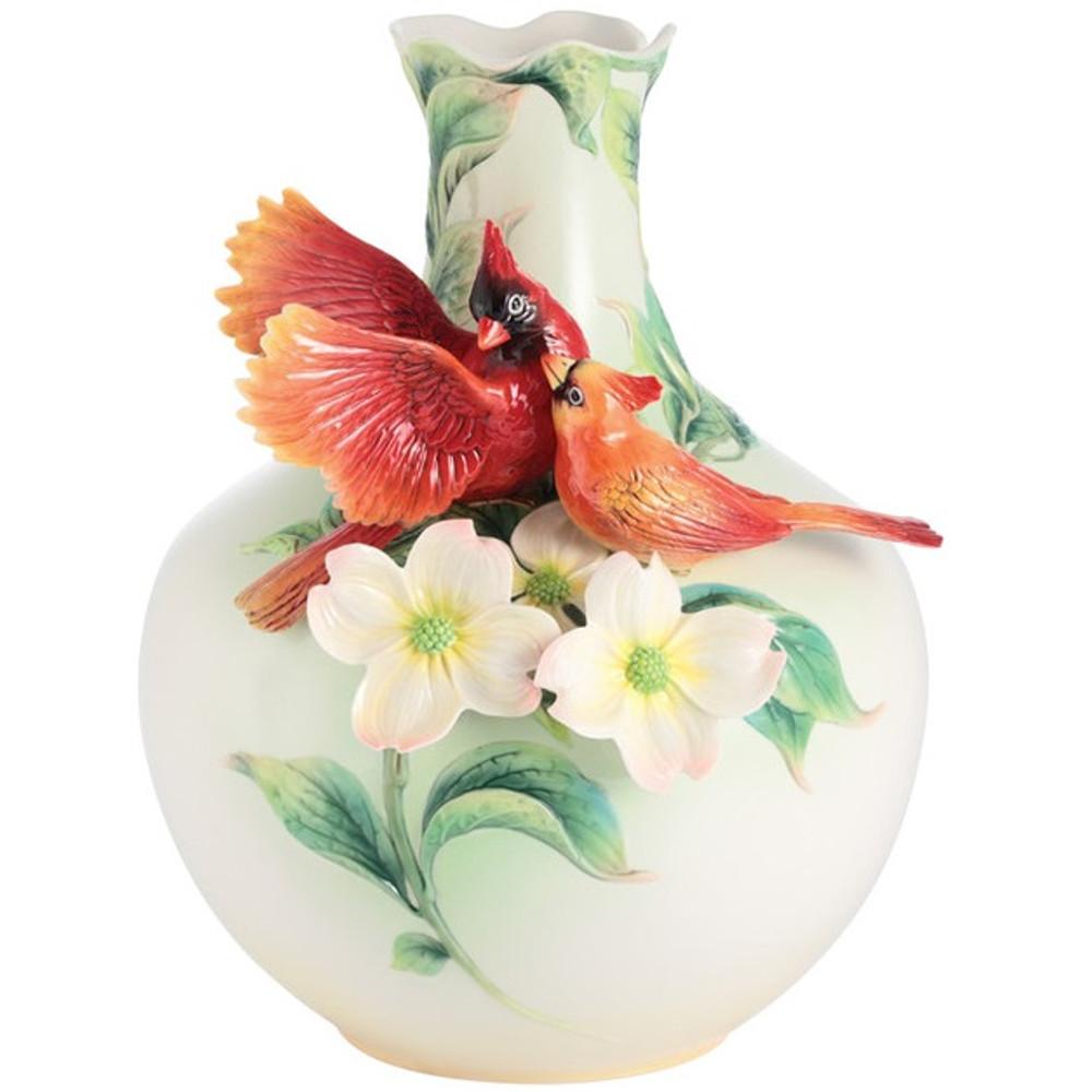 Companion Cardinal Porcelain Vase   FZ03014   Franz Porcelain Collection