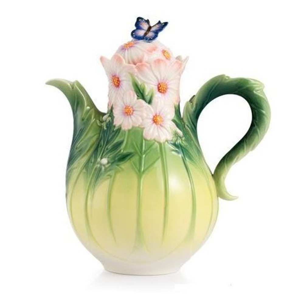 Cosmos and Butterfly Porcelain Teapot | FZ03043 | Franz Porcelain Collection