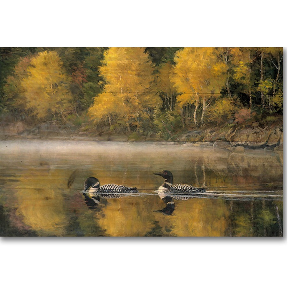 "Loon Wood Wall Art ""Autumn Morning Shoreline"" 