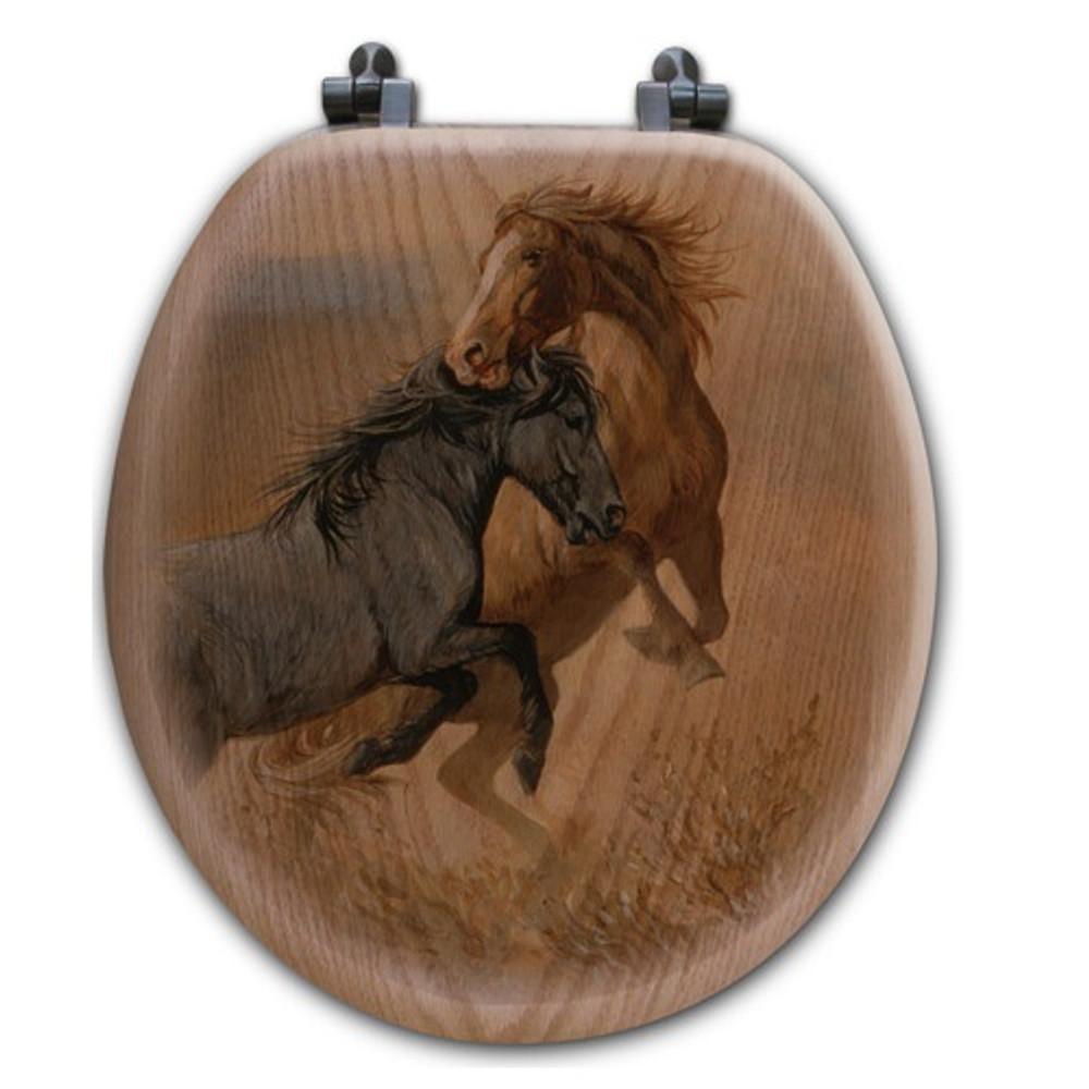 "Horse Oak Wood Round Toilet Seat ""Challenge""   Wood Graphixs   WGICHAL-R"