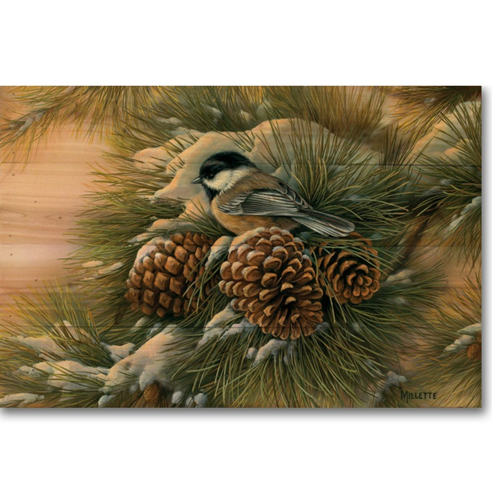"Chickadees Bird Wood Wall Art "" Dawn"" 