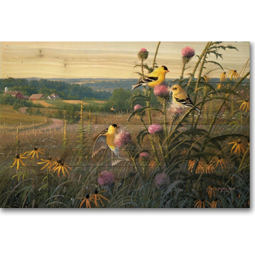 "Bird Wood Wall Art ""Golden Meadow"" 
