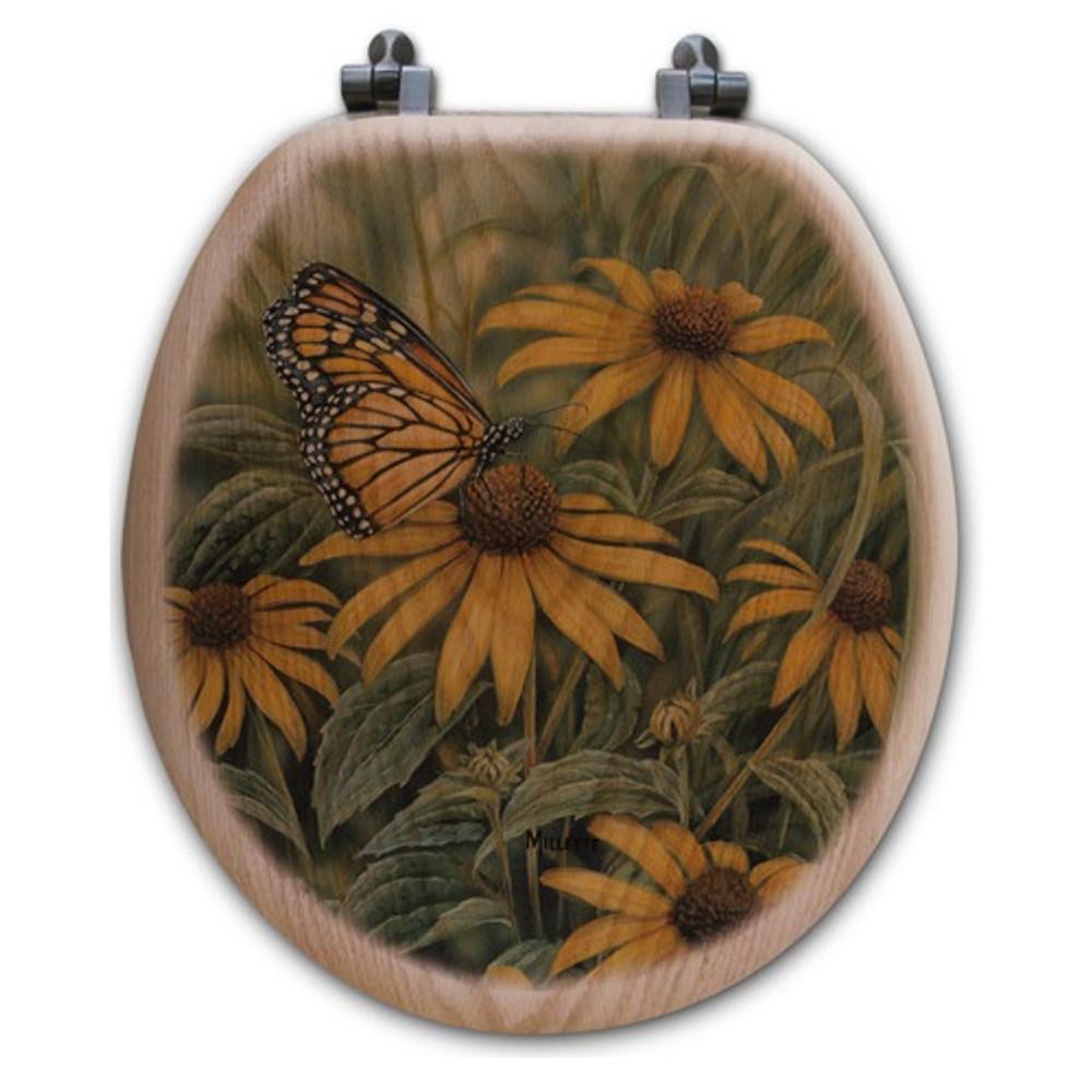 Monarch Butterfly Oak Wood Round Toilet Seat | Wood Graphixs | WGIMB-R-OAK