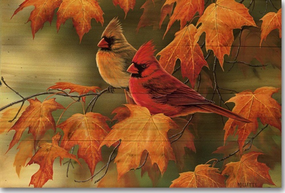 Maple Leaves and Cardinals Wood Wall Art   Wood Graphixs   WGIMLC1624