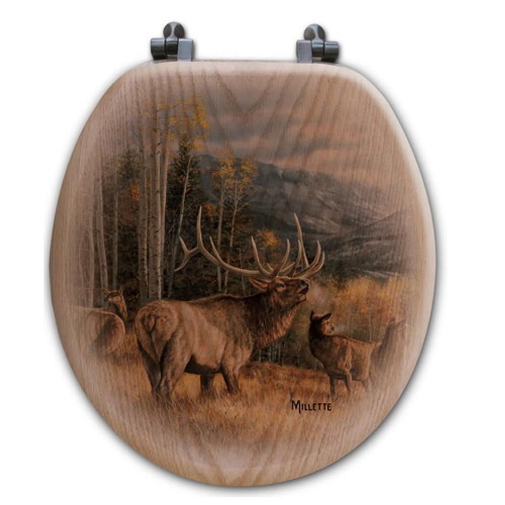 "Elk Oak Wood Round Toilet Seat ""Meadow Music"" | Wood Graphixs | WGIMME-R"