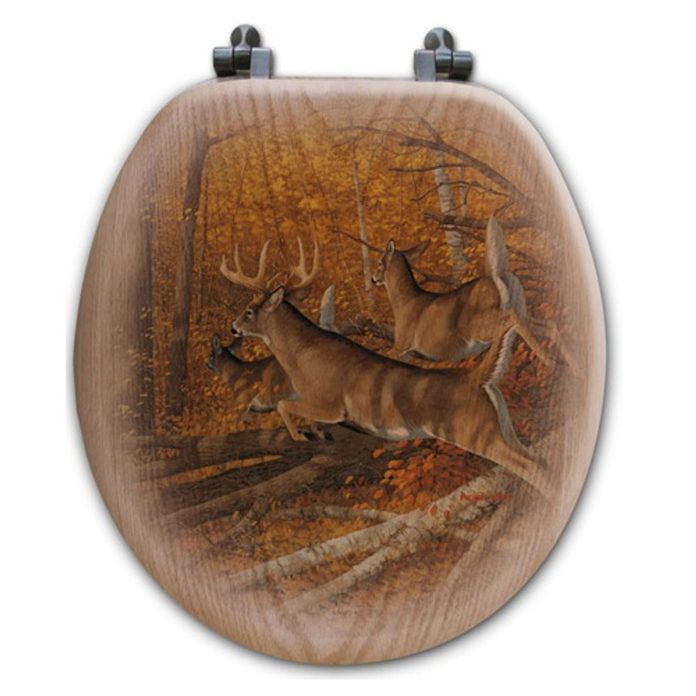 "Deer Oak Wood Round Toilet Seat ""Maple Rush""   Wood Graphixs   WGIMR-R"