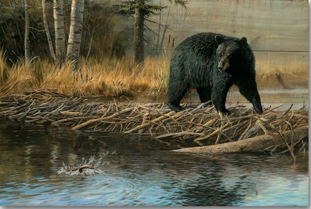 "Bear Wood Wall Art ""No Trespassing"" | Wood Graphixs | WGINT2416"