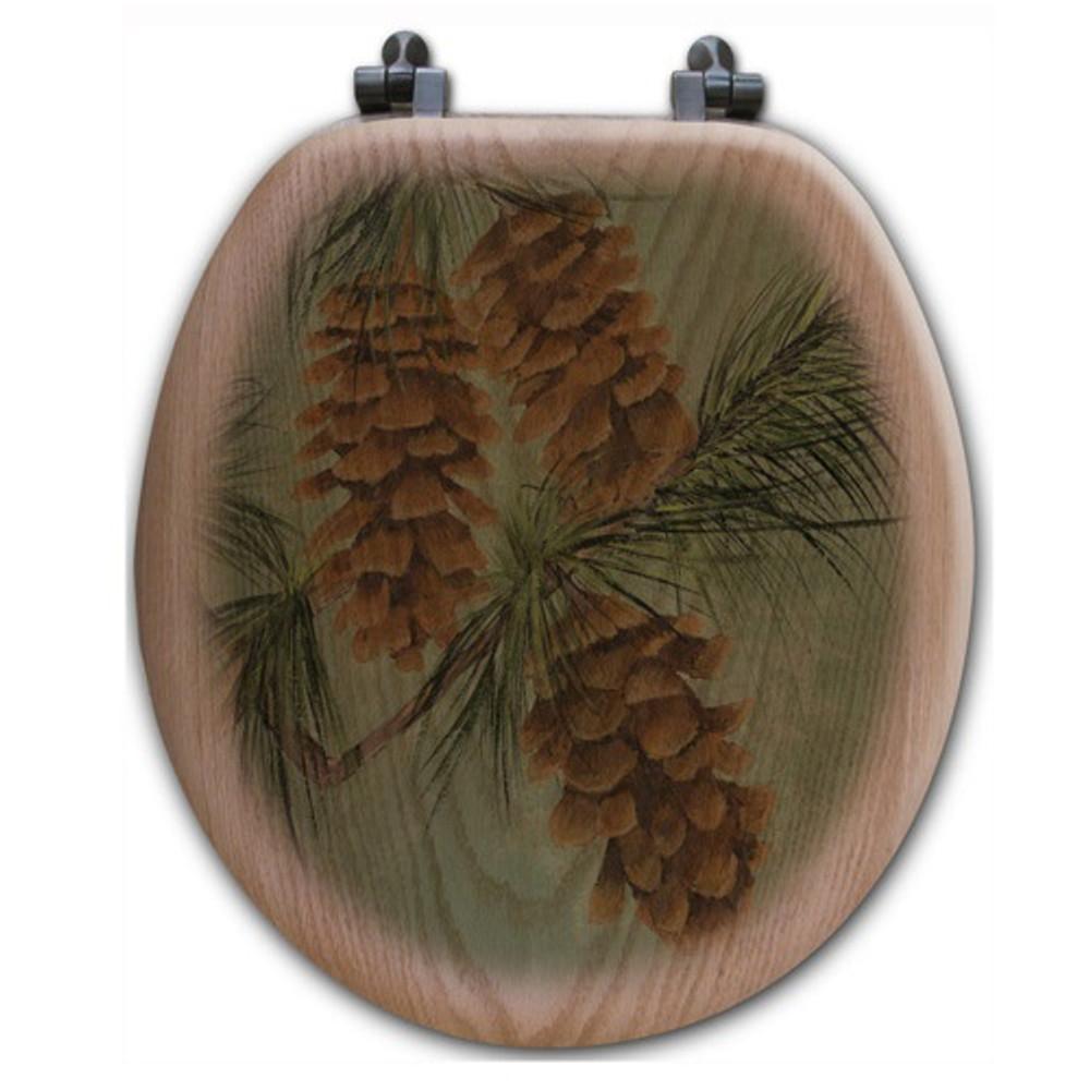 Pinecone Oak Wood Round Toilet Seat | Wood Graphixs | WGIPC-R
