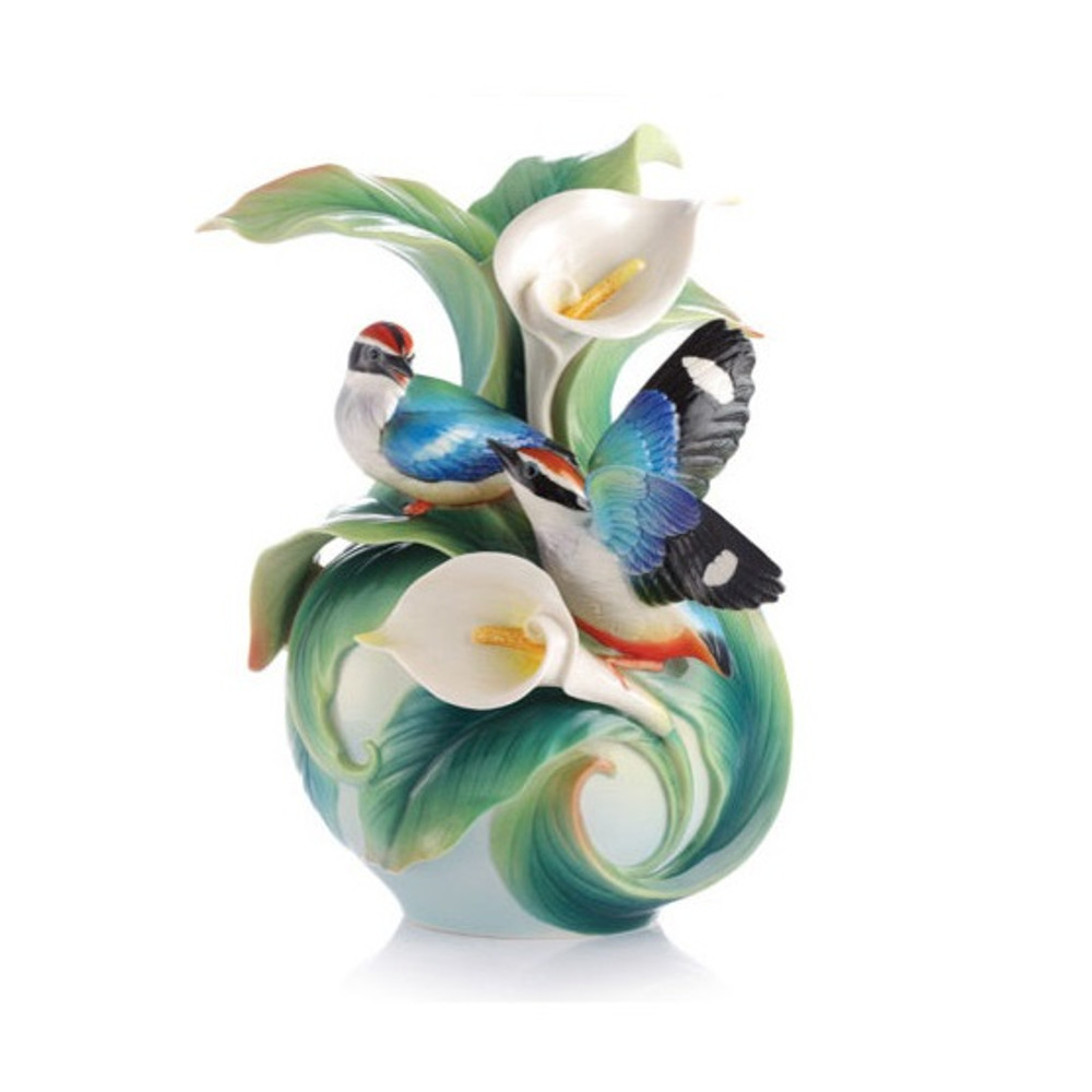 Blue-Winged Pitta Vase Happy Encounter | FZ03123 | Franz Porcelain Collection