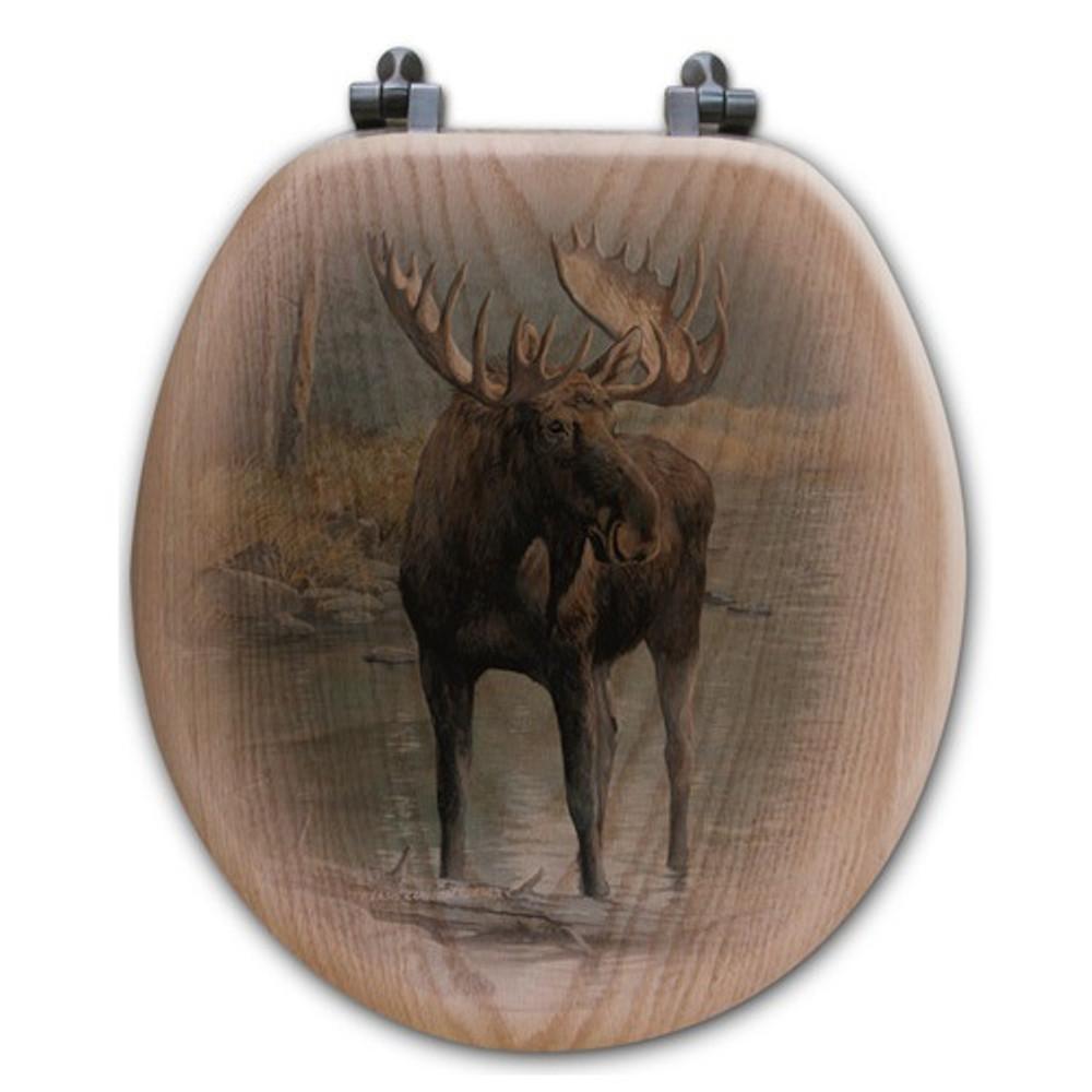 "Moose Oak Wood Round Toilet Seat ""Quiet Water"" | Wood Graphixs | WGIQWM-R"