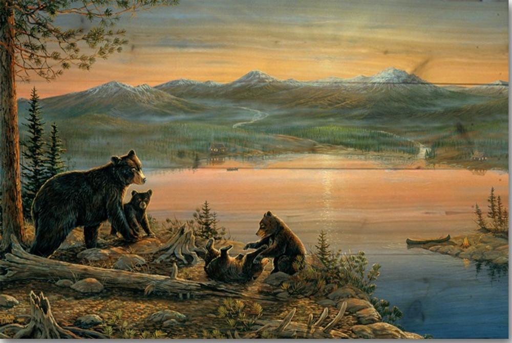 "Bear Wood Wall Art ""Serenity at Twilight"" | Wood Graphixs | WGISAT2416"