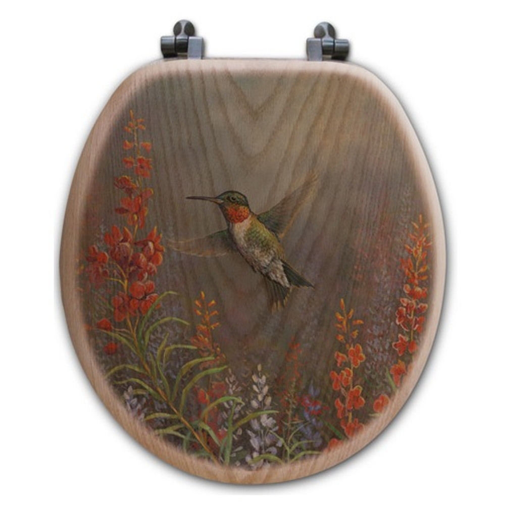 "Hummingbird Oak Wood Round Toilet Seat ""Summer Hummer"" 