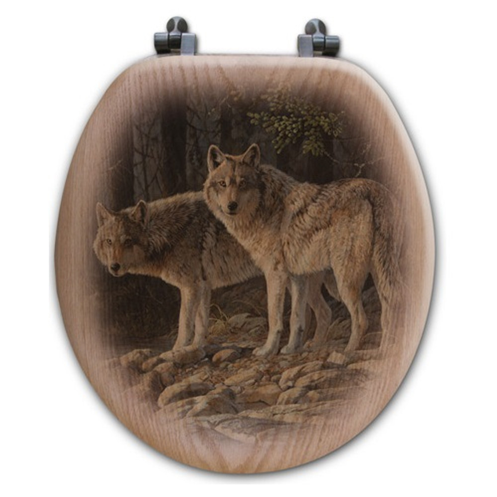 "Wolf Oak Wood Round Toilet Seat ""Shades of Gray"" | Wood Graphixs | WGISOG-R"