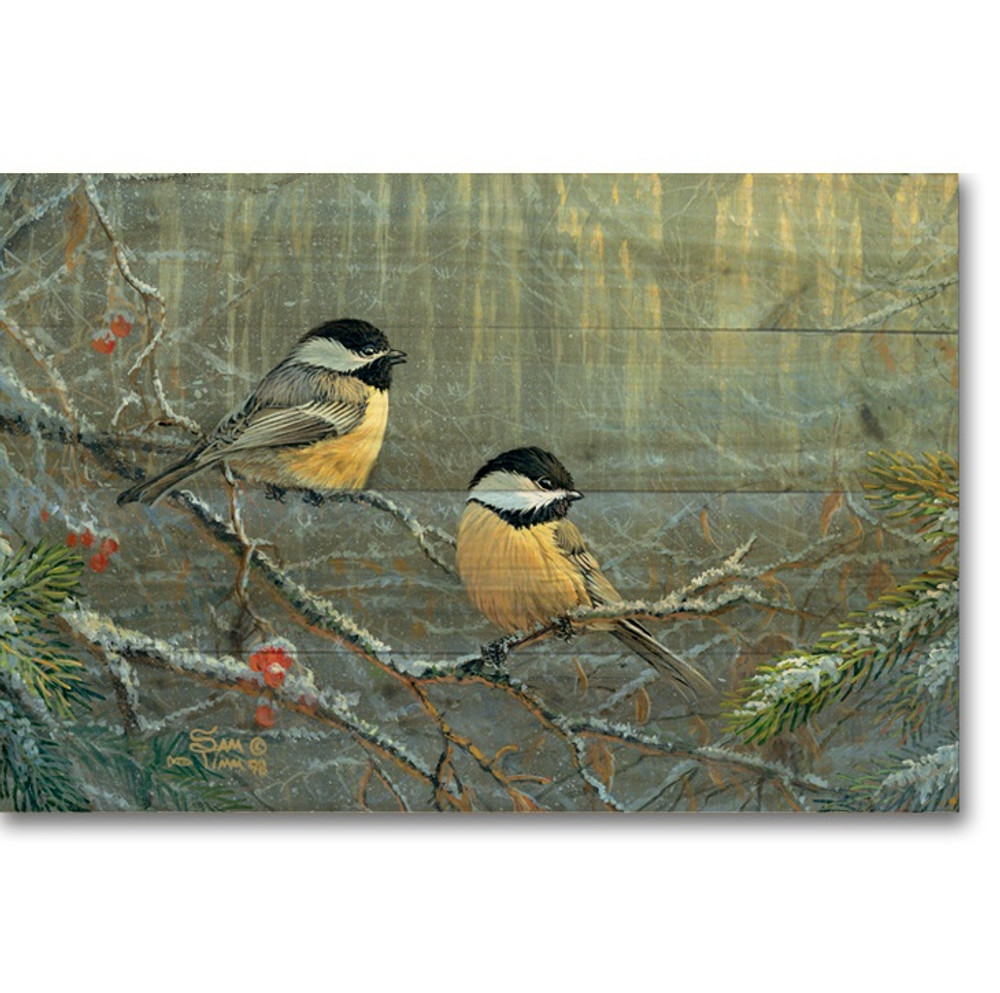 "Chickadees Bird Wood Wall Art ""Winter Breeze"" | Wood Graphixs | WGIWBC2416"