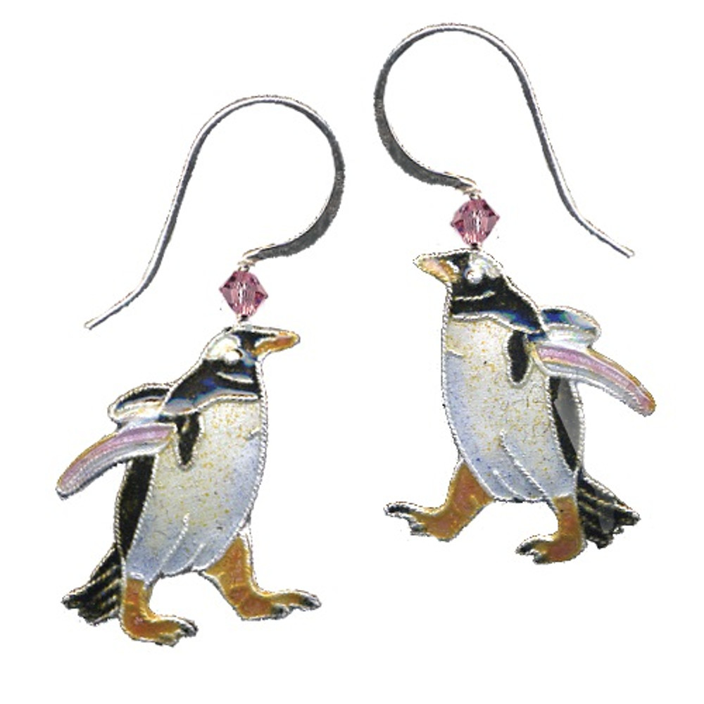 Gentoo Penguin Cloisonne Wire Earrings | Bamboo Jewelry | BJ0142E