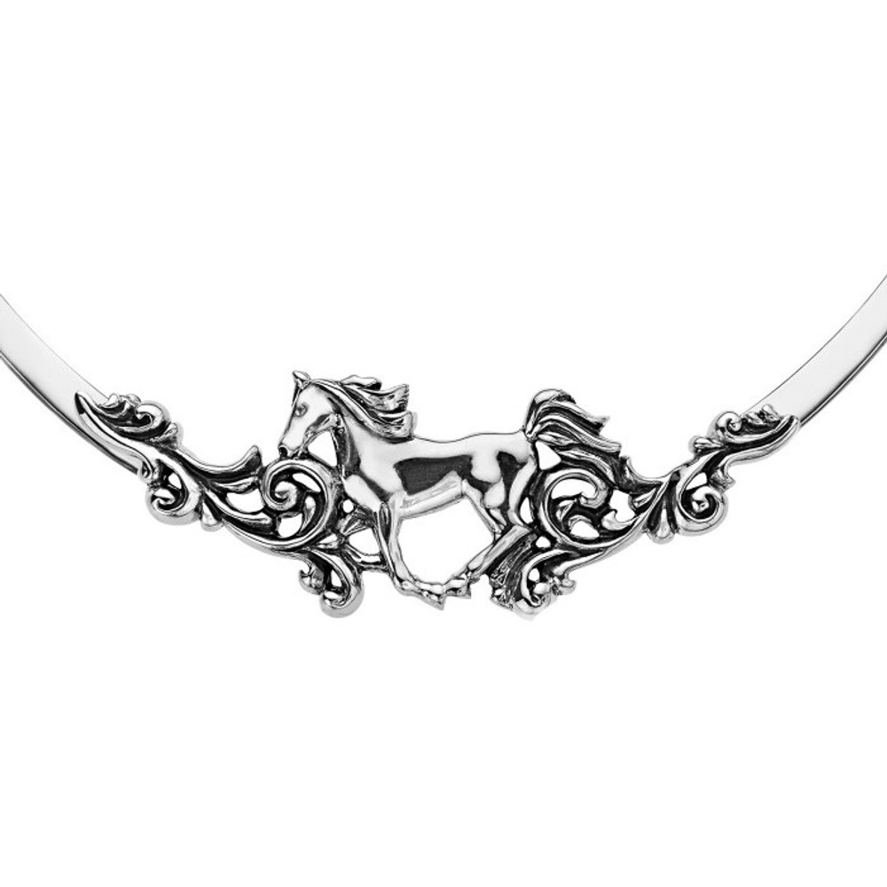 Horse Sterling Silver Filagree Necklace | Kabana Jewelry | KNK312 -2