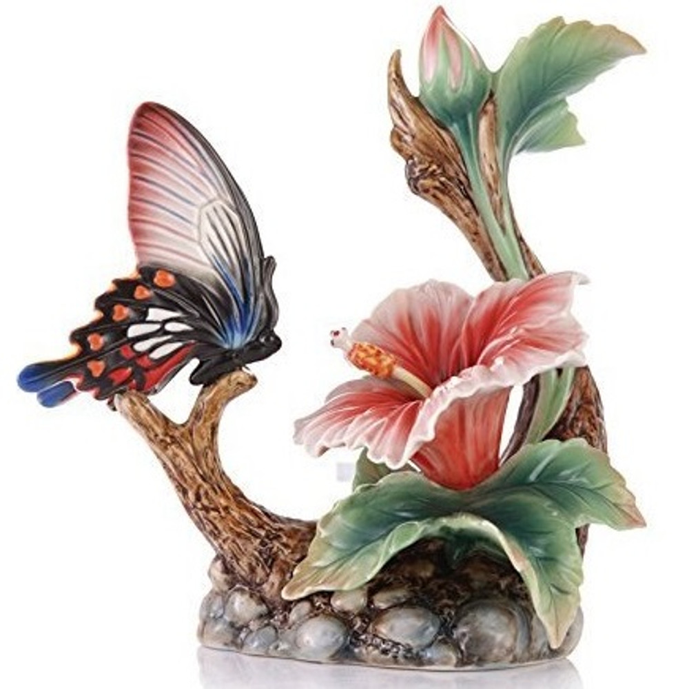 Butterfly and Hibiscus Porcelain Figurine | Franz Porcelain -2
