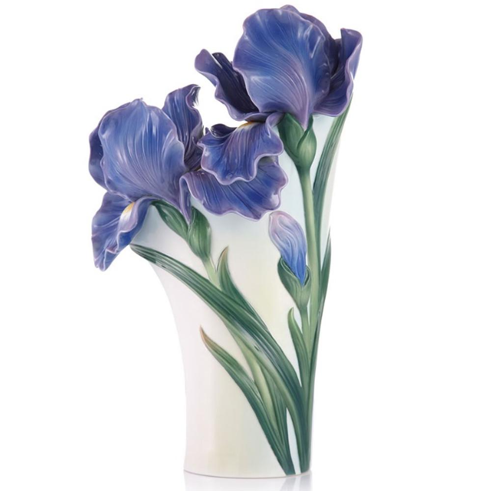 Iris Flower Sculptured Porcelain Vase | FZ03422 | Franz Porcelain Collection