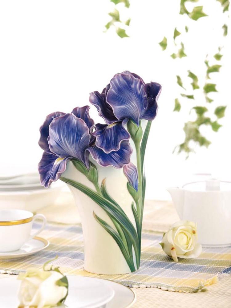 Iris Flower Sculptured Porcelain Vase | FZ03422 | Franz Porcelain Collection -2