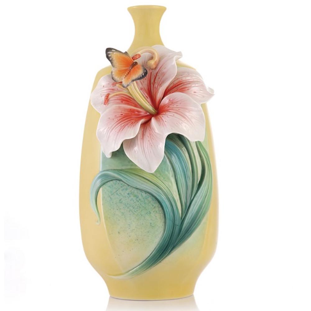 Lily Sculptured Porcelain Vase   FZ03434   Franz Porcelain Collection