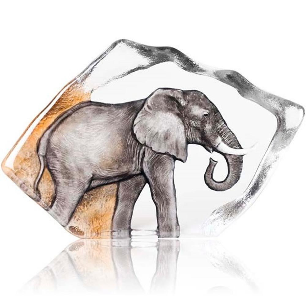 Elephant Color Crystal Relief Sculpture | 34114 | Mats Jonasson Maleras
