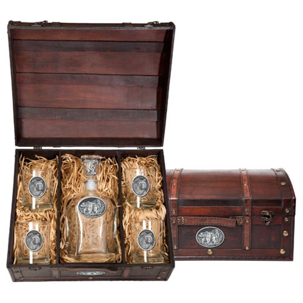 Grizzly Bear Decanter Chest   Heritage Pewter   HPICPTC105D