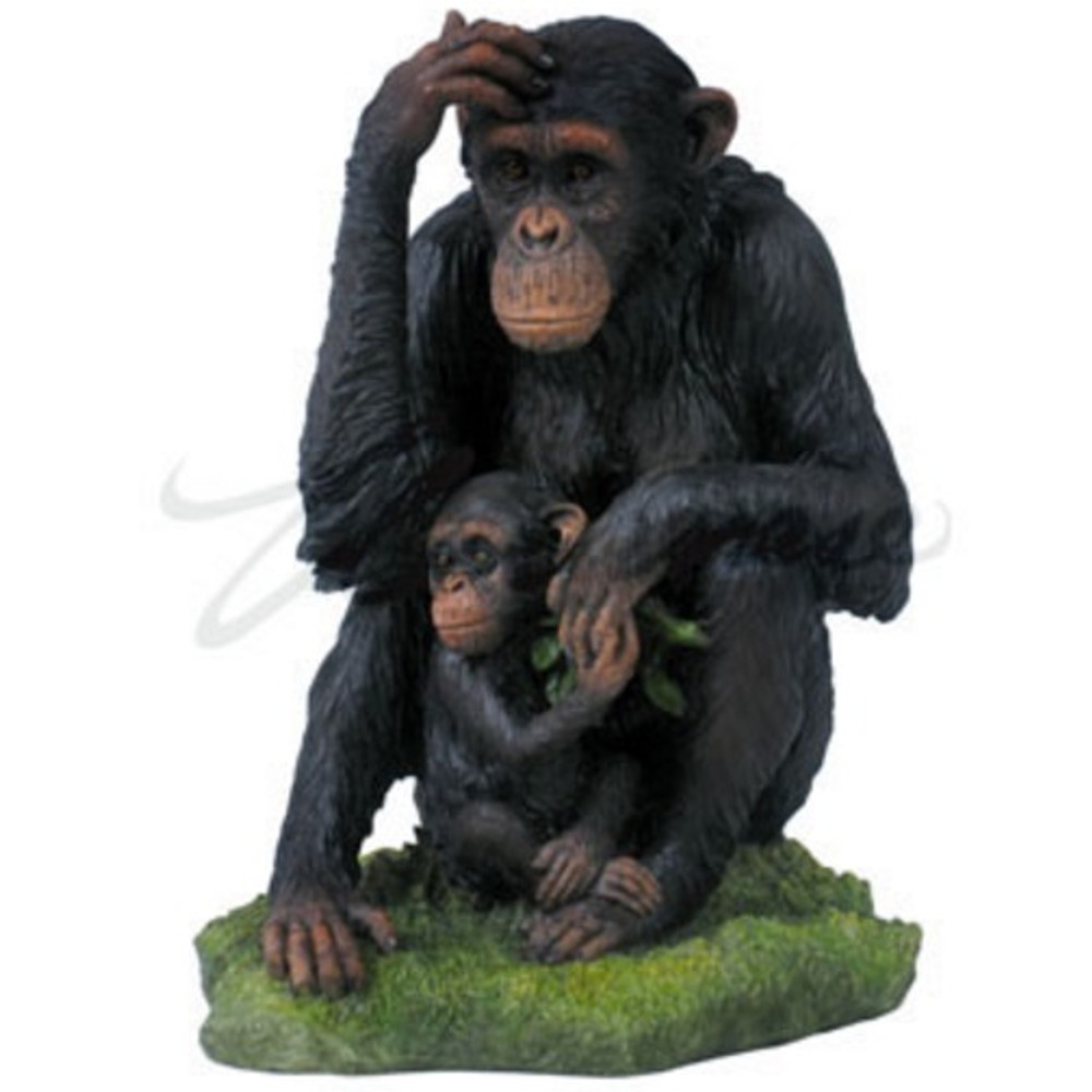 Chimpanzee and Baby Sculpture Color   wu74874aa