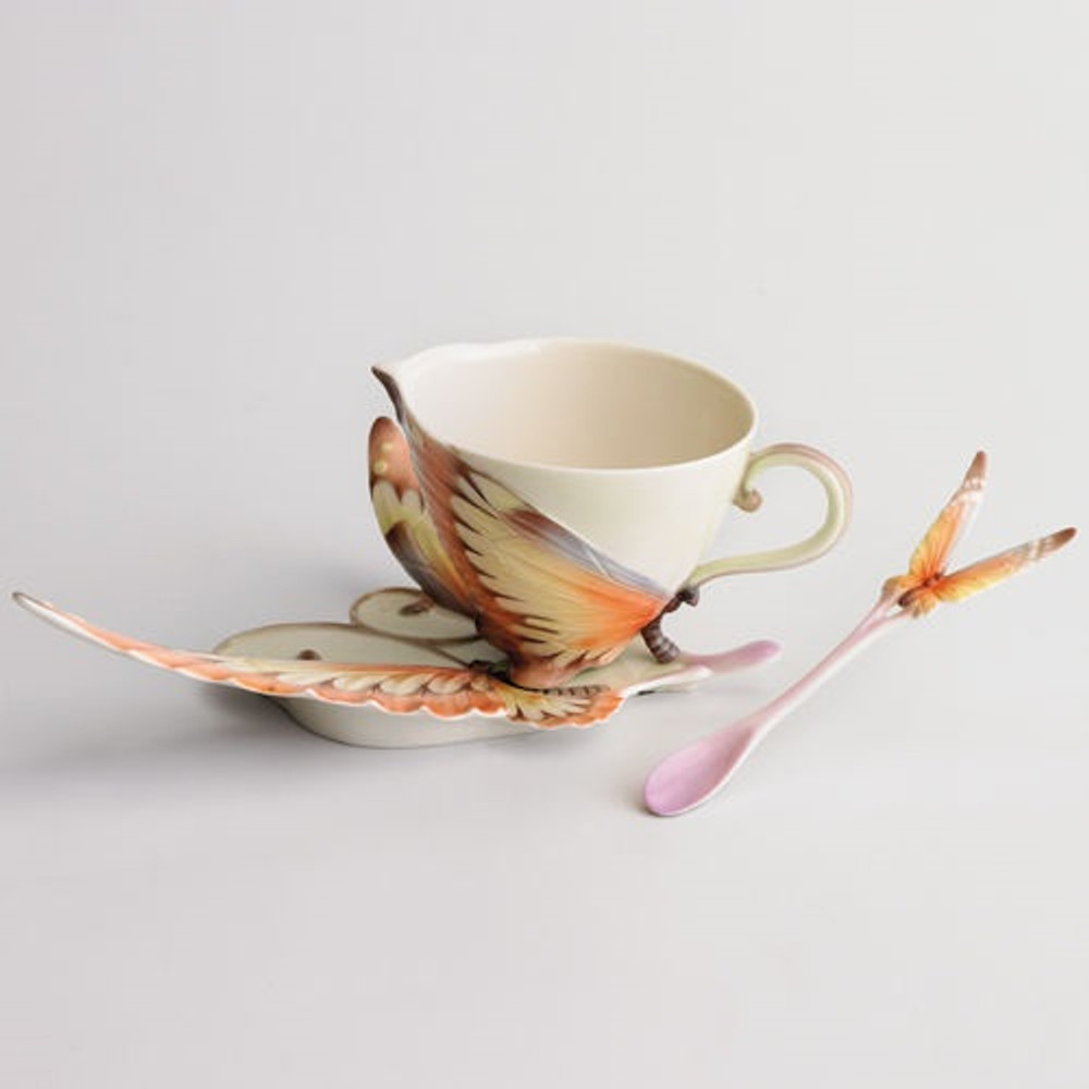 Fantasy Butterfly Cup Saucer   xp1907   Franz Porcelain Collection