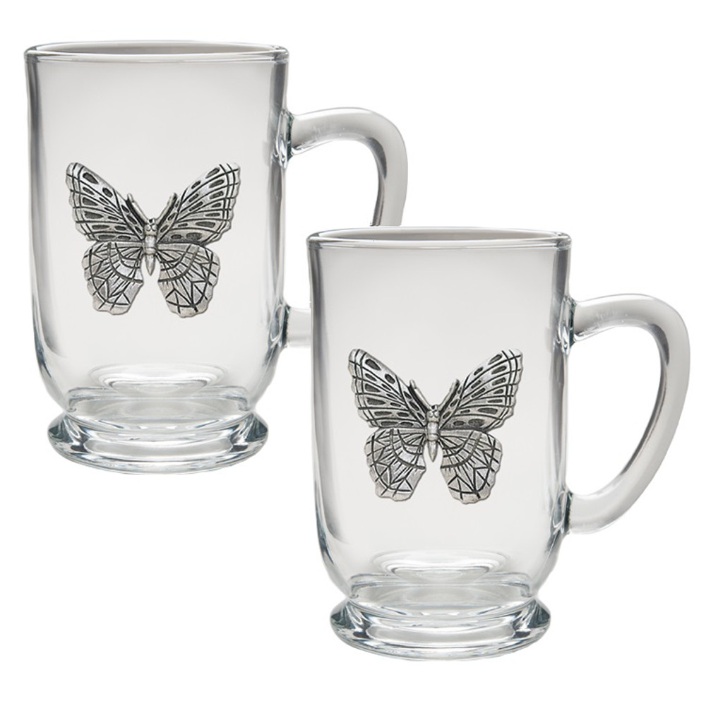 Butterfly Coffee Mug Set of 2 | Heritage Pewter | HPICM4053CL