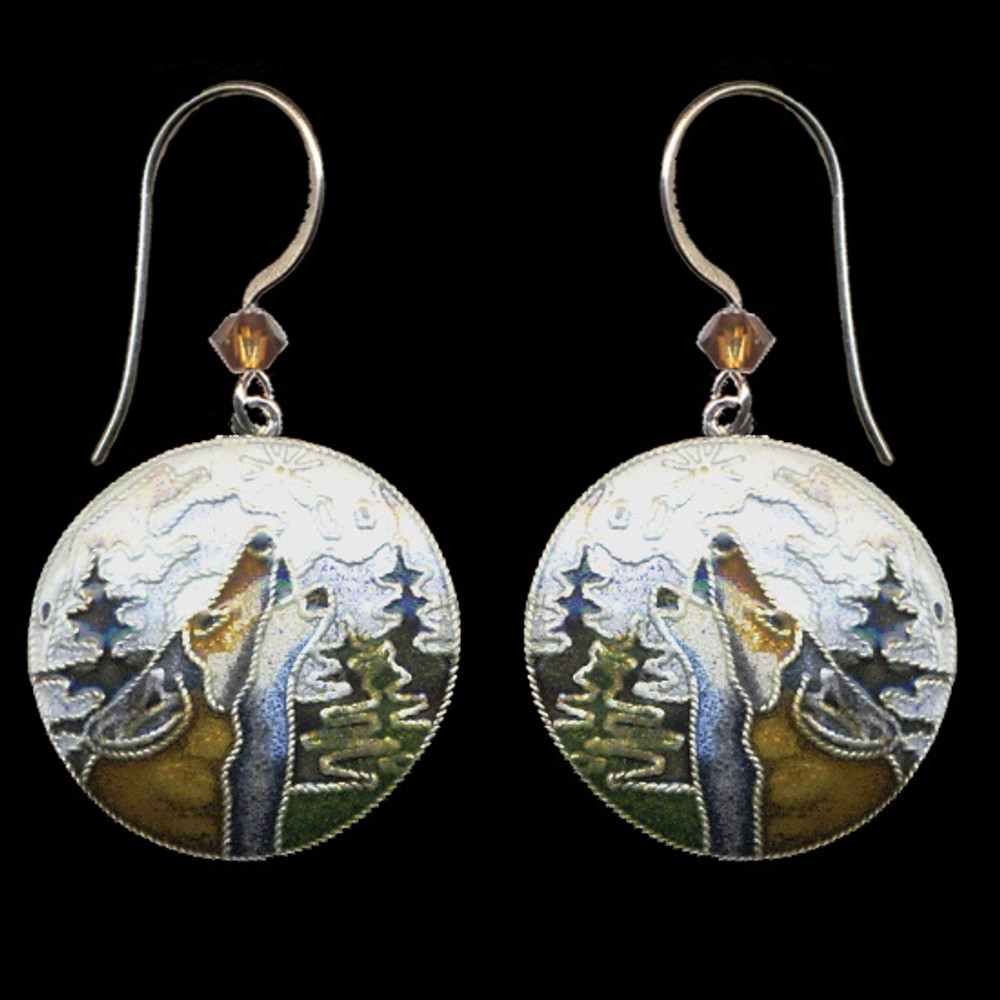 Wolf  With Moon Bamboo Cloisonne Wire Earrings | Bamboo Jewelry | BJ0071e -2