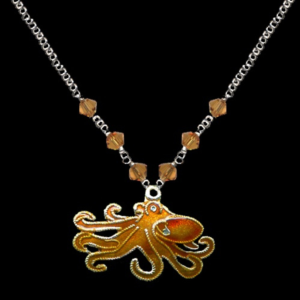 Octopus Cloisonne Small Necklace | Bamboo Jewelry | BJ0215sn -2