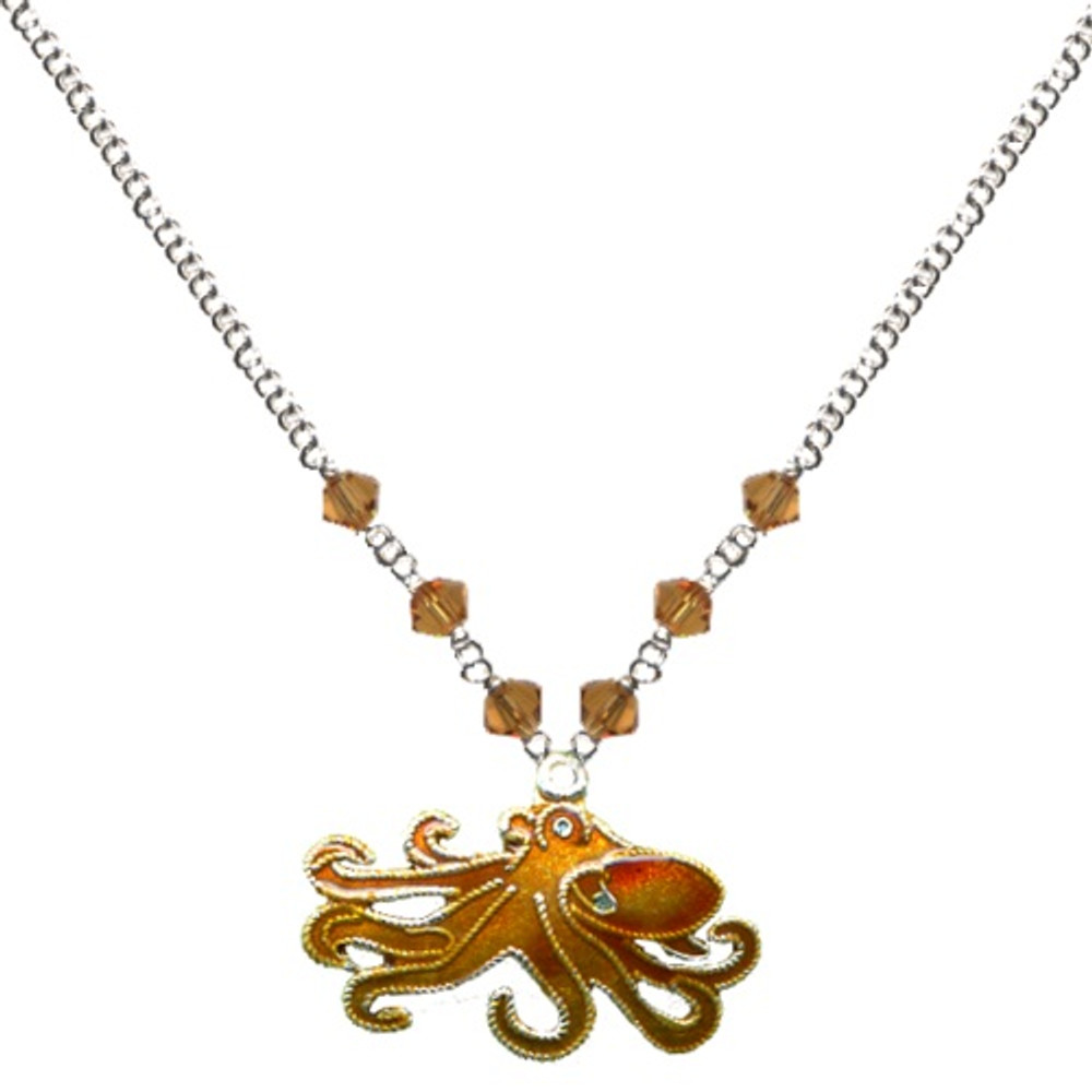 Octopus Cloisonne Small Necklace | Bamboo Jewelry | BJ0215sn