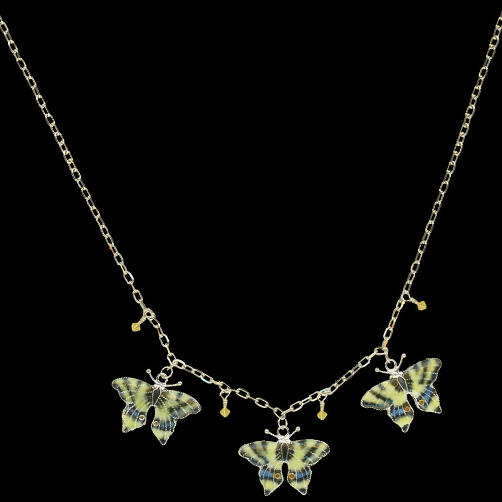 Swallowtail 3 Piece Cloisonne Crystal Necklace | Bamboo Jewelry | BJ0004-nck -2