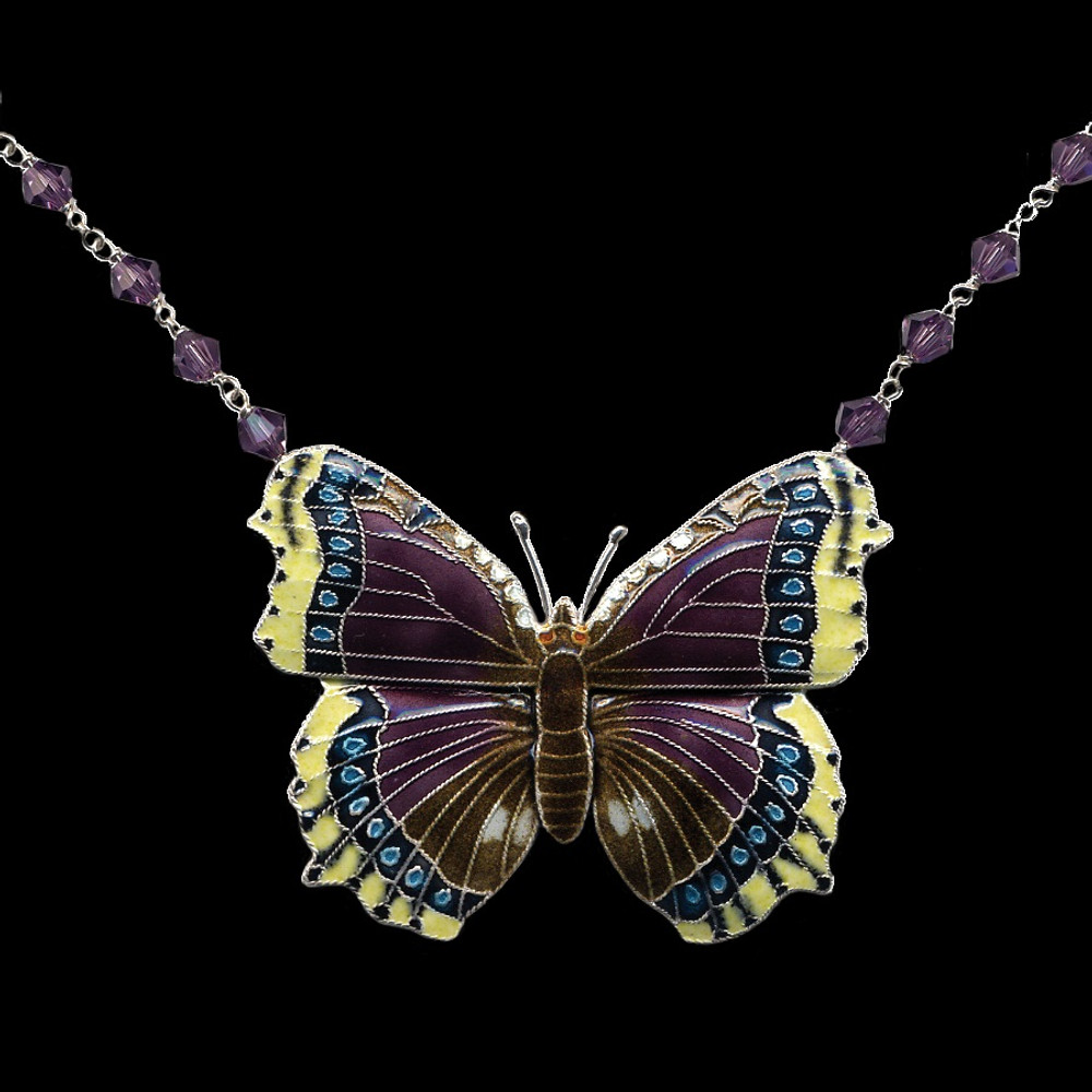 Mourning Cloak  Butterfly Crystal Necklace | Bamboo Jewelry | BJ0127cyn -2