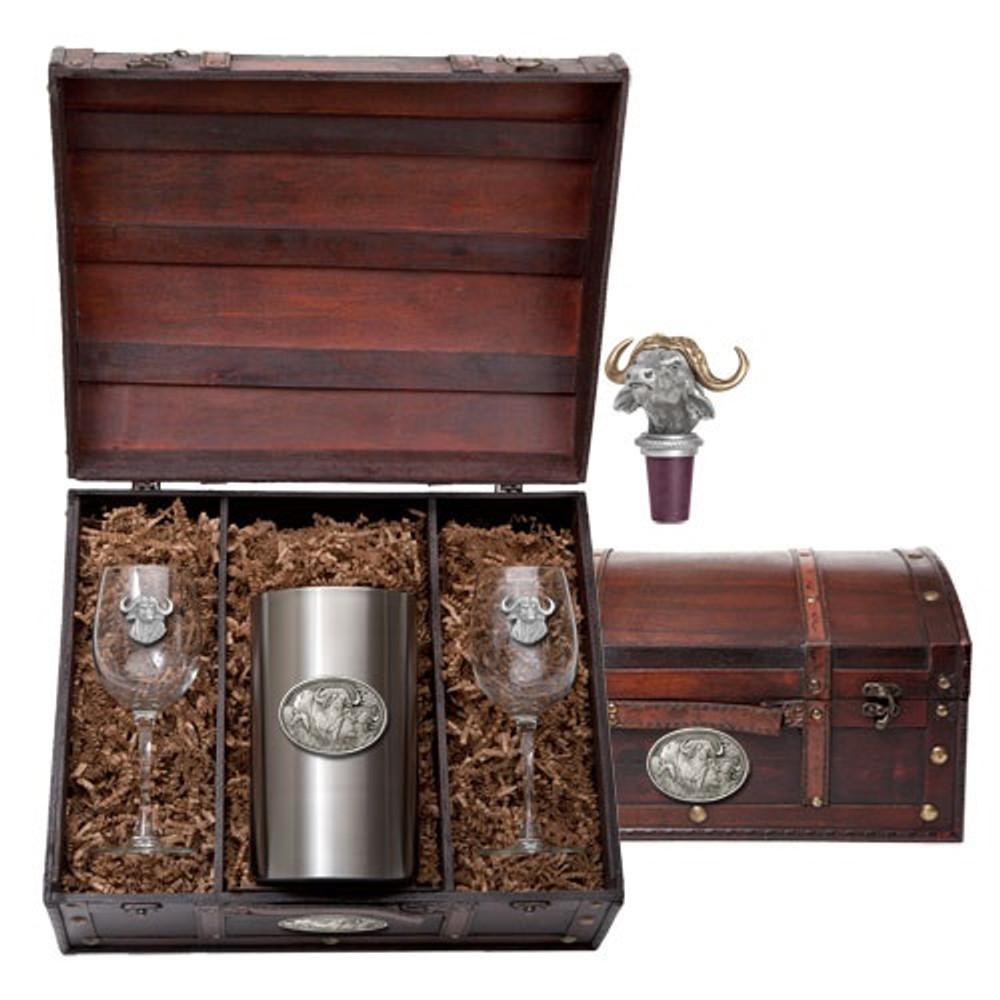 Cape Buffalo Wine Chest Set | Heritage Pewter | HPIWSC121