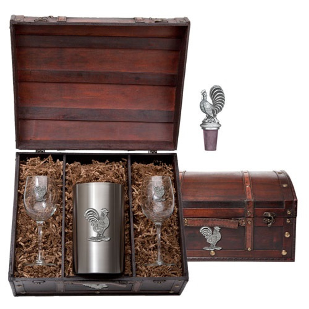 Rooster Wine Chest Set   Heritage Pewter   HPIWSC3760