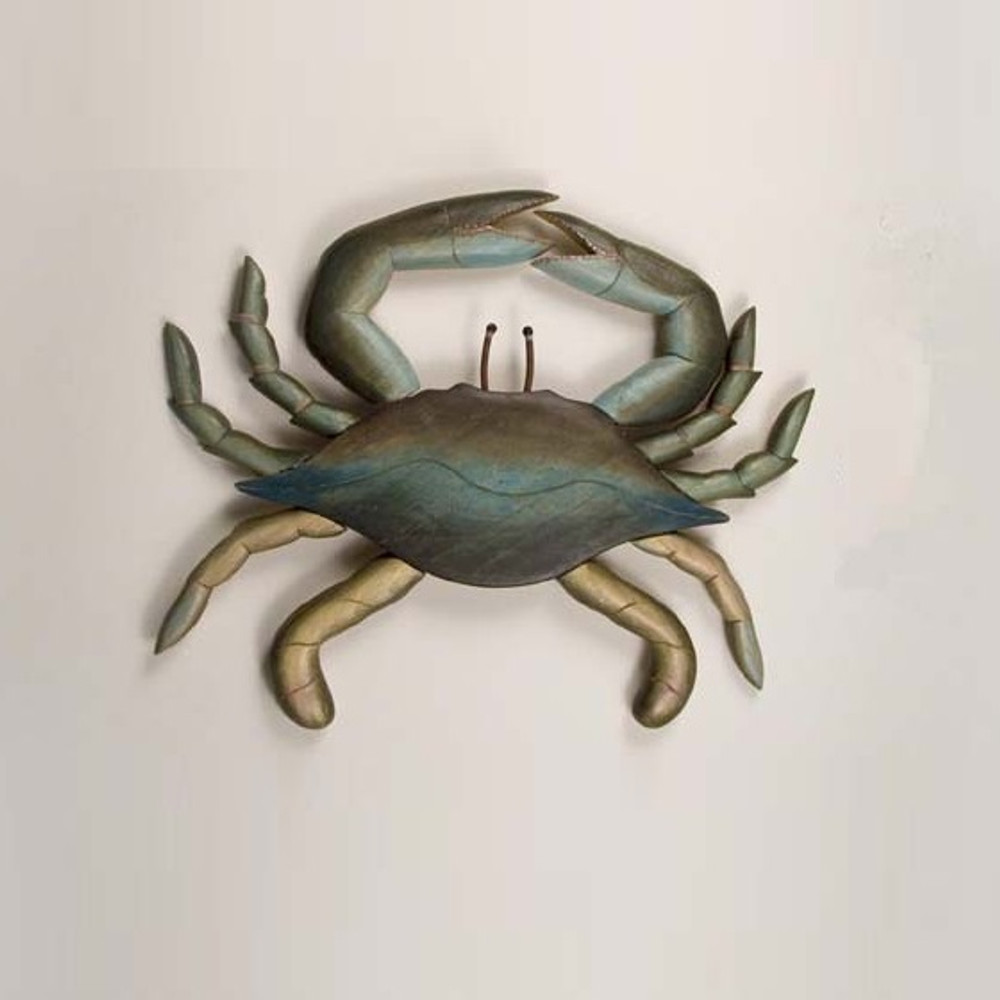 Blue Crab Carved Wood Wall Sculpture | TI Design | C162