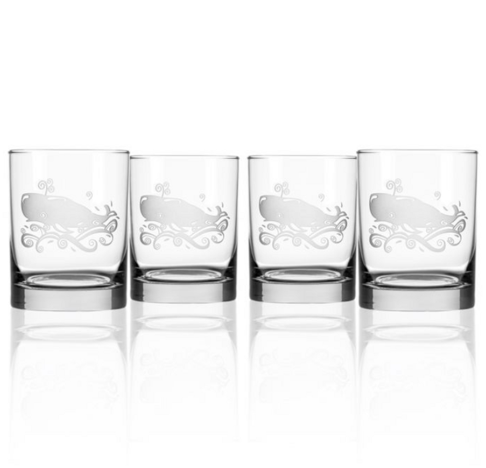Whale Double Old Fashioned Glass Set of 4 | Rolf Glass | 237008