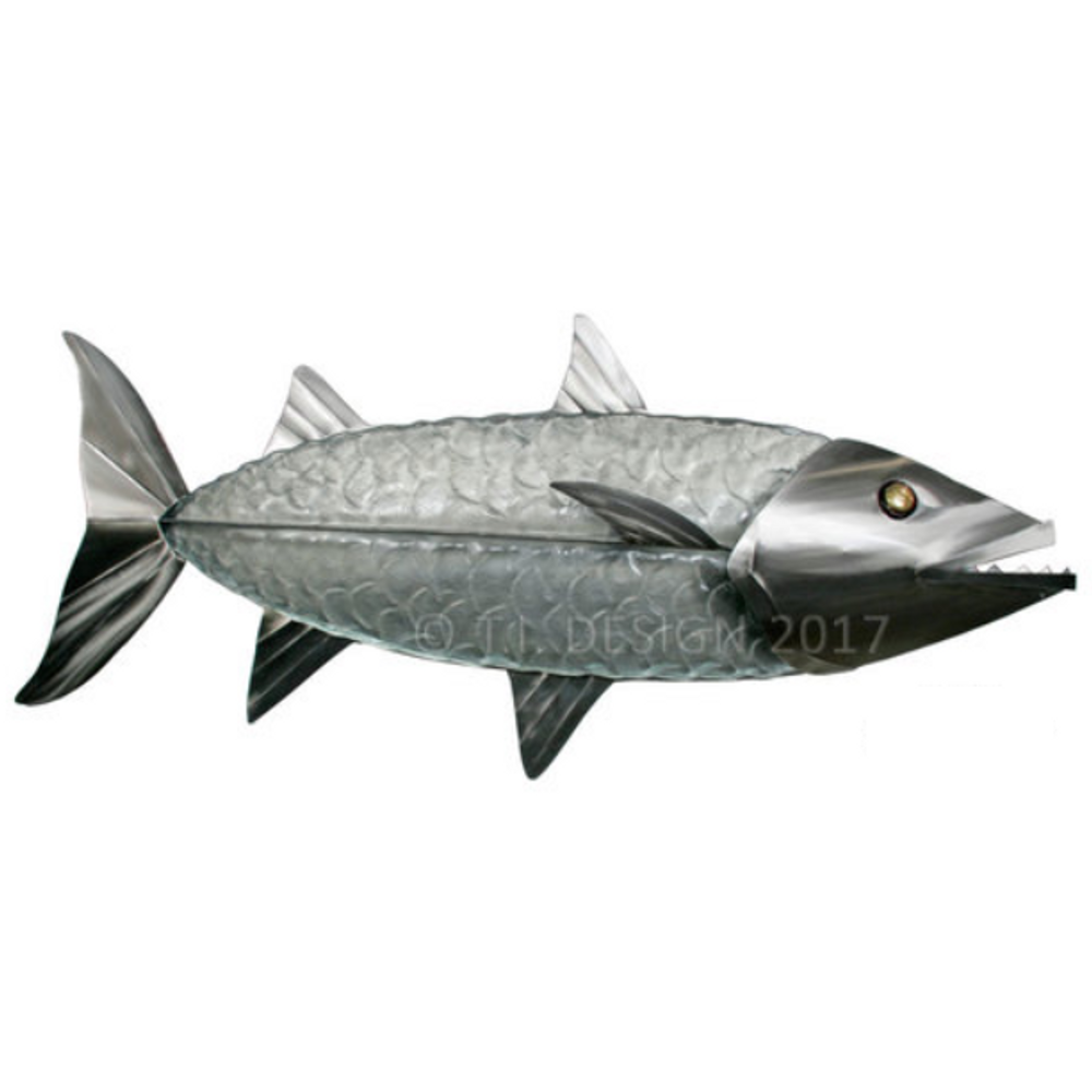 Barracuda Glass and Stainless Wall Sculpture